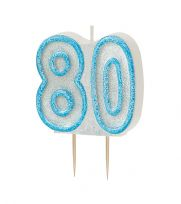 Blue Glitz Birthday Cake Candle - 80